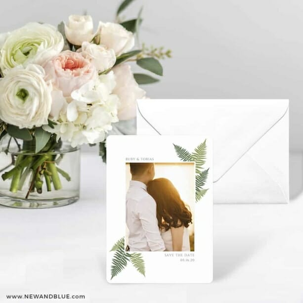 Framed In Ferns Save The Date Card With Envelope