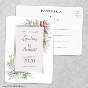 Botanical Frame Nb Save The Date Wedding Postcard Front And Back