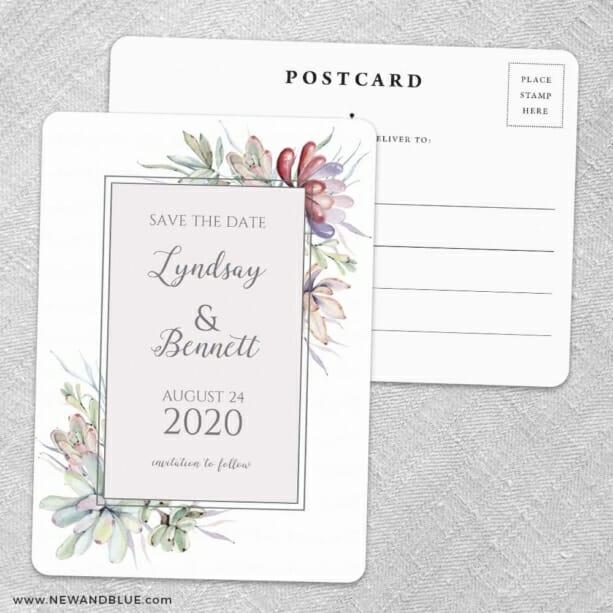 Botanical Frame Nb Save The Date Wedding Postcard Front And Back