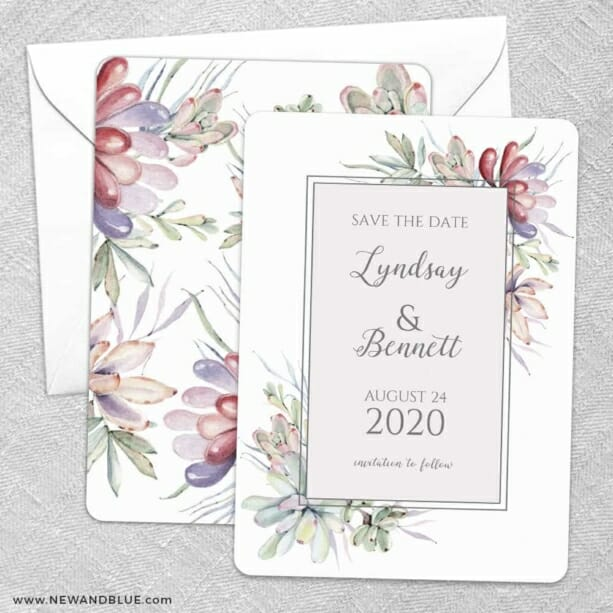 Botanical Frame Nb Save The Date Wedding Card