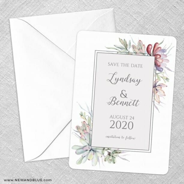 Botanical Frame Nb Save The Date Party Card