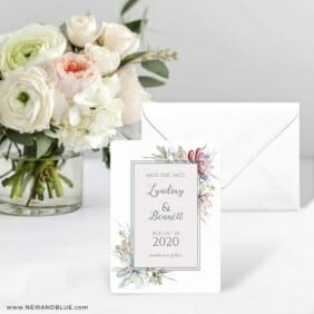 Botanical Frame Nb Save The Date Card With Envelope