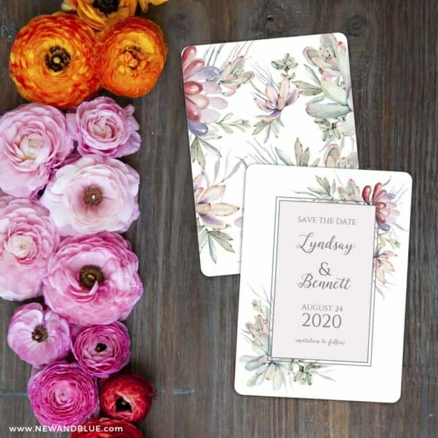 Botanical Frame Nb Save The Date Card With Back Printing