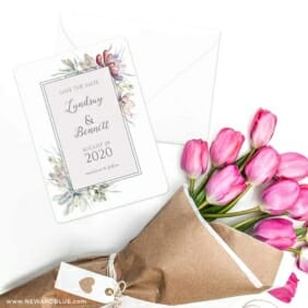 Botanical Frame Nb Save The Date Cards With Envelope
