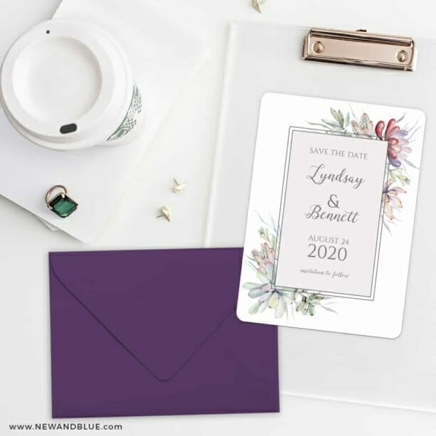 Botanical Frame Nb Save The Date Cards And Optional Color Envelopes