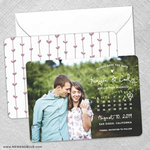 Charming Calendar Nb Save The Date Wedding Card