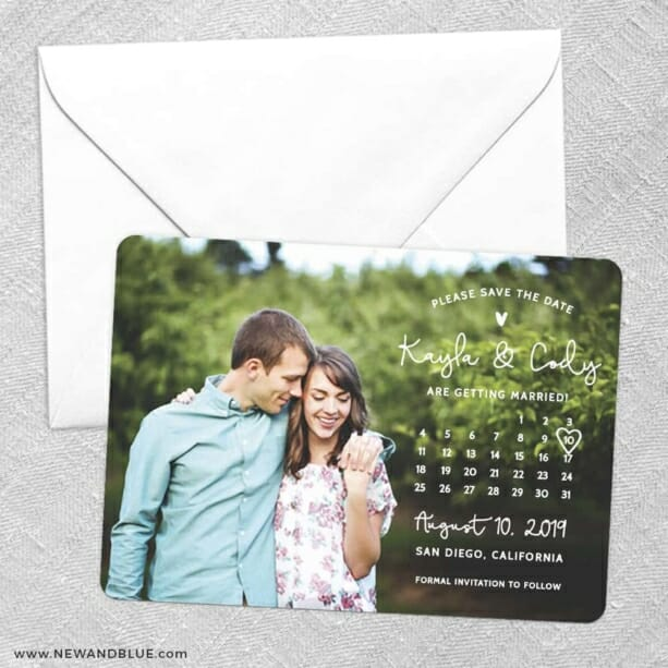 Charming Calendar Nb Save The Date Party Card
