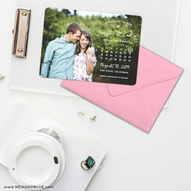 Charming Calendar Nb Save The Date Cards And Optional Color Envelopes