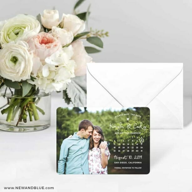 Charming Calendar Nb Save The Date Card With Envelope