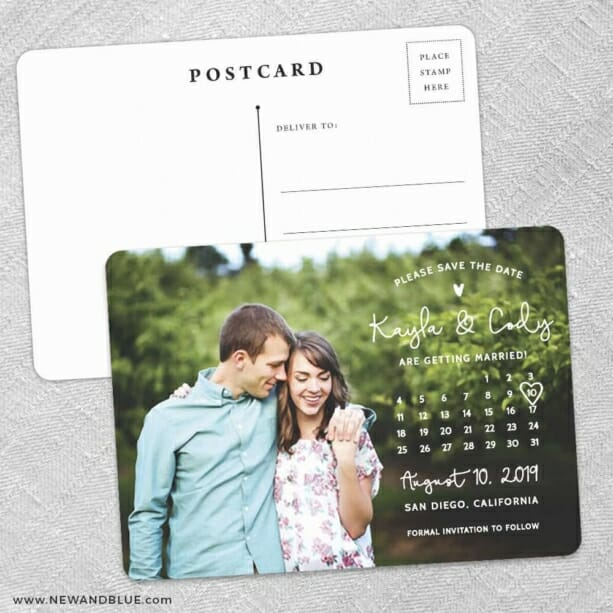 Charming Calendar Nb Save The Date Wedding Postcard Front And Back