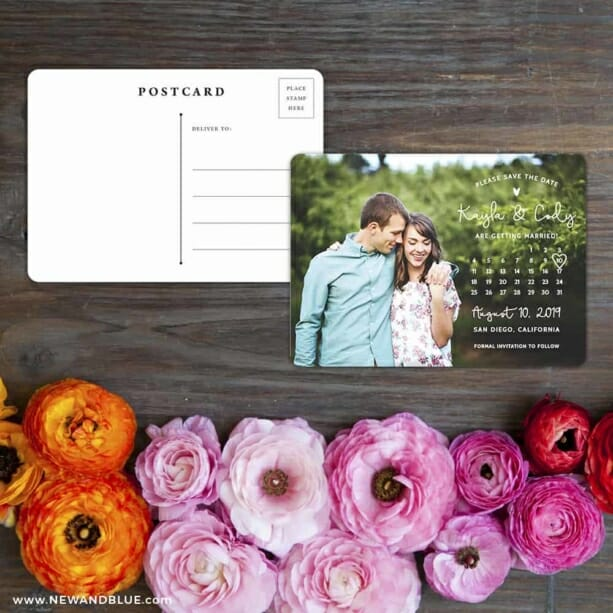 Charming Calendar Nb Save The Date Postcard With Back