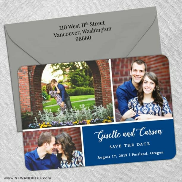 Trio Collage 5 Save The Date With Optional Color Envelope