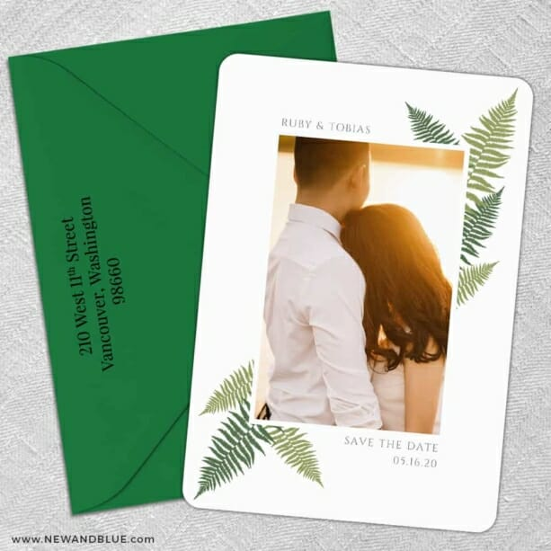 Framed In Ferns 5 Save The Date With Optional Color Envelope