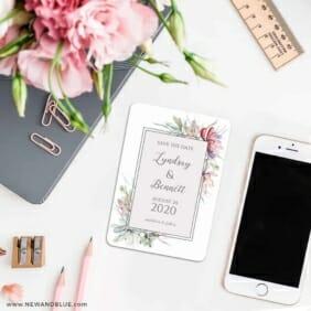 Botanical Frame Nb 7 Wedding Save The Date Magnets