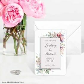 Botanical Frame Nb 6 Wedding Save The Date Magnets