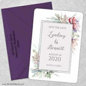 Botanical Frame Nb 5 Save The Date With Optional Color Envelope