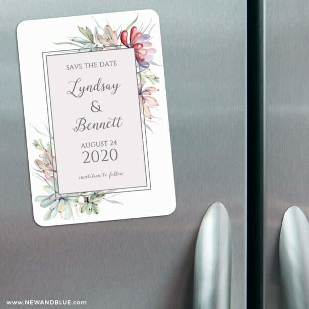 Botanical Frame Nb 3 Refrigerator Save The Date Magnets