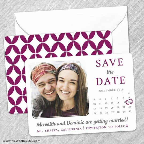 Calendar Couple Save The Date Wedding Card