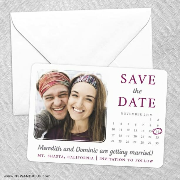 Calendar Couple Save The Date Party Card