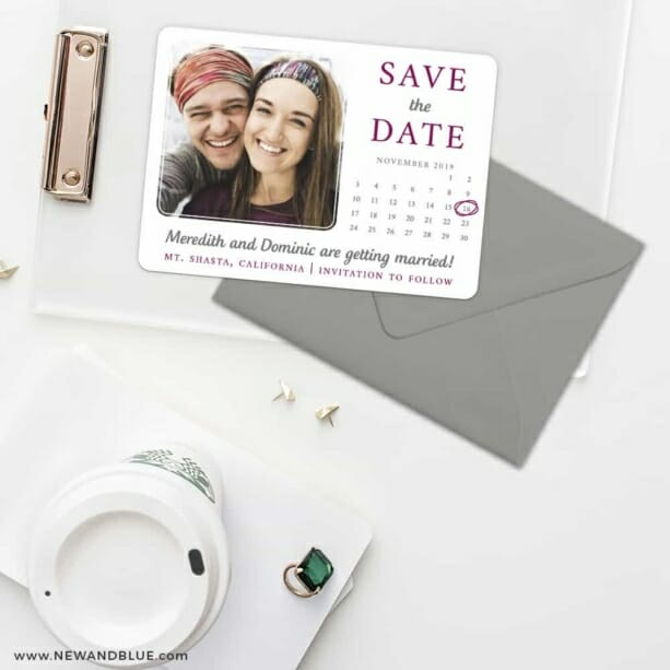 Calendar Couple Save The Date Cards And Optional Color Envelopes