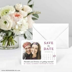 Calendar Couple Save The Date Card With Envelope