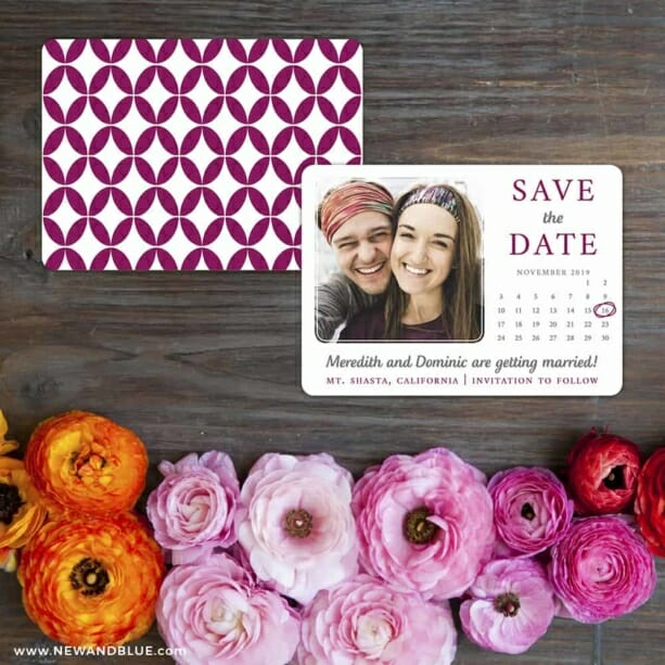 Calendar Couple Save The Date Card With Back Printing