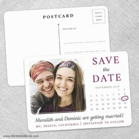 Calendar Couple Save The Date Wedding Postcard Front And Back