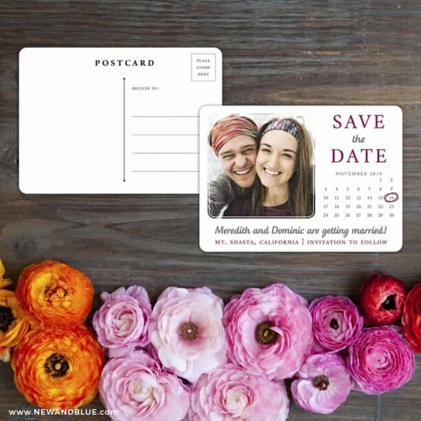 Calendar Couple Save The Date Postcard With Back