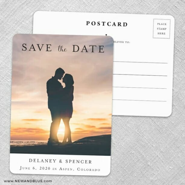 Cherished Save The Date Wedding Postcard Front And Back