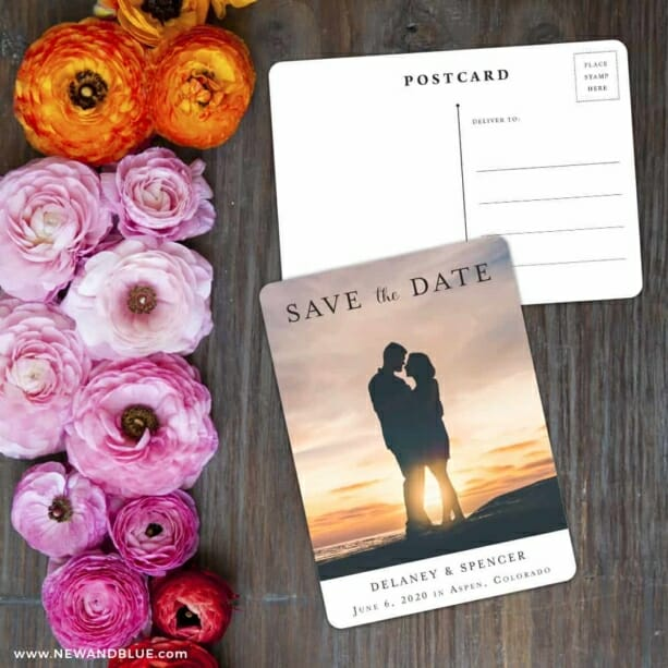 Cherished Save The Date Postcard With Back