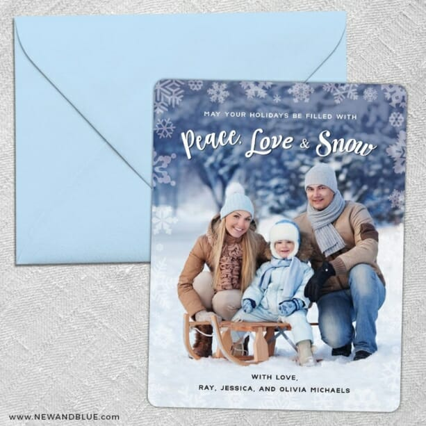 Peace Love And Snow 5 Save The Date With Optional Color Envelope