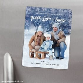 Peace Love And Snow 3 Refrigerator Save The Date Magnets
