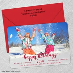 Handwriting Holiday 5 Save The Date With Optional Color Envelope