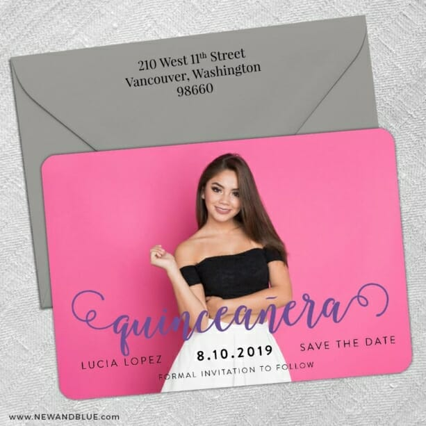 Handwriting Quinceanera 5 Save The Date With Optional Color Envelope