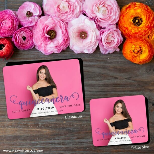 Handwriting Quinceanera 2 Save The Date Magnet Classic And Petite Size