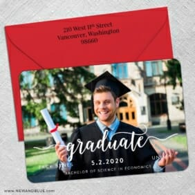 Handwriting Graduation 5 Save The Date With Optional Color Envelope