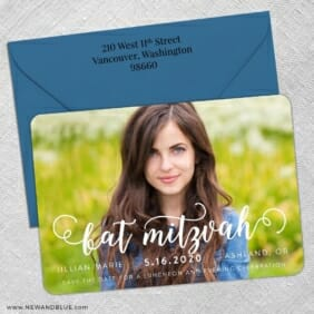 Handwriting Bat Mitzvah 5 Save The Date With Optional Color Envelope