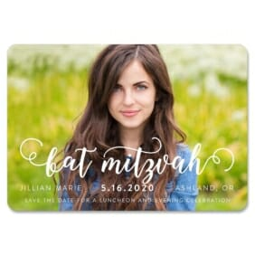 Handwriting Bat Mitzvah 1 Save The Date Magnets