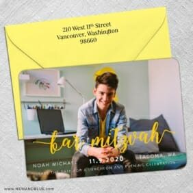 Handwriting Bar Mitzvah 5 Save The Date With Optional Color Envelope