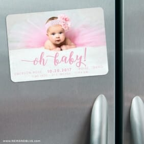 Handwriting Baby 3 Refrigerator Save The Date Magnets