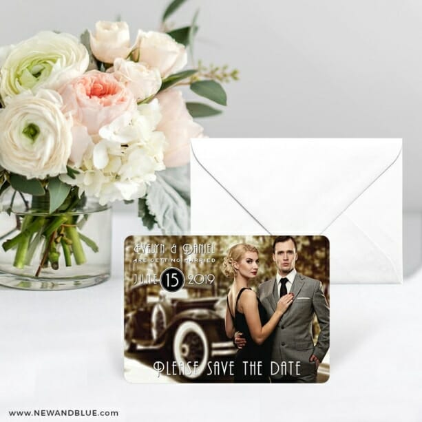 Rockefeller Save The Date Card With Envelope