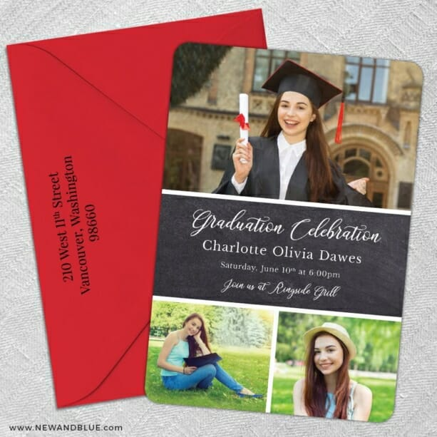 Union Square Graduation 5 Save The Date With Optional Color Envelope