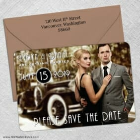 Rockefeller 5 Save The Date With Optional Color Envelope