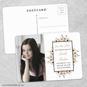 Flower Bat Mitzvah Save The Date Wedding Postcard Front And Back