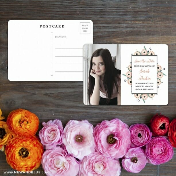 Flower Bat Mitzvah Save The Date Postcard With Back