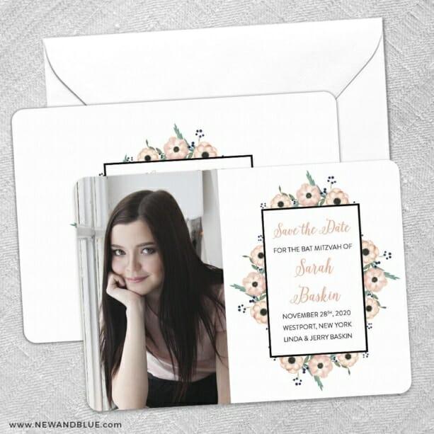 Flower Bat Mitzvah Save The Date Wedding Card