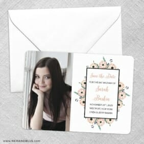 Flower Bat Mitzvah Save The Date Party Card