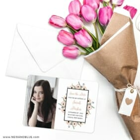 Flower Bat Mitzvah Save The Date Cards With Envelope