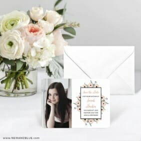 Flower Bat Mitzvah Save The Date Card With Envelope