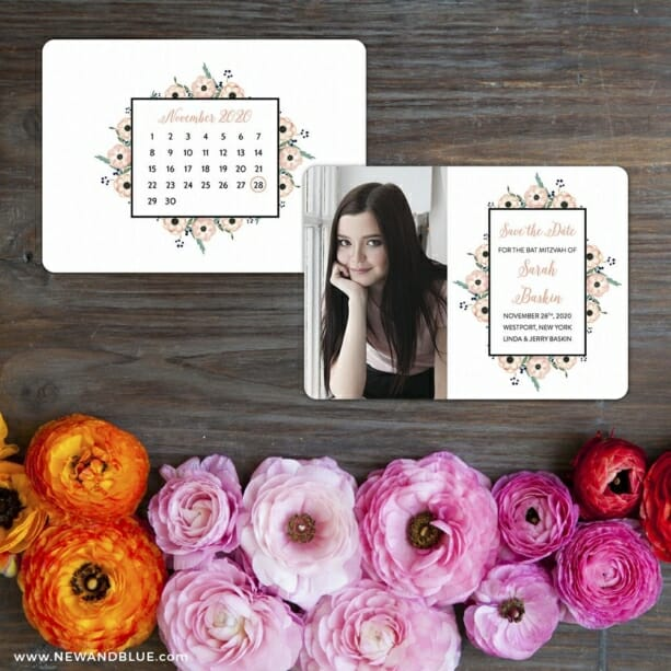 Flower Bat Mitzvah Save The Date Card With Back Printing